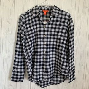 Joe Fresh Black and White Checkered Button Up Top